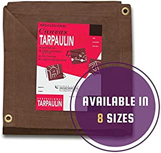 CCS CHICAGO CANVAS & SUPPLY Brown Canvas Tarpaulin - Water and Mildew Resistant (12 feet x 14 feet)