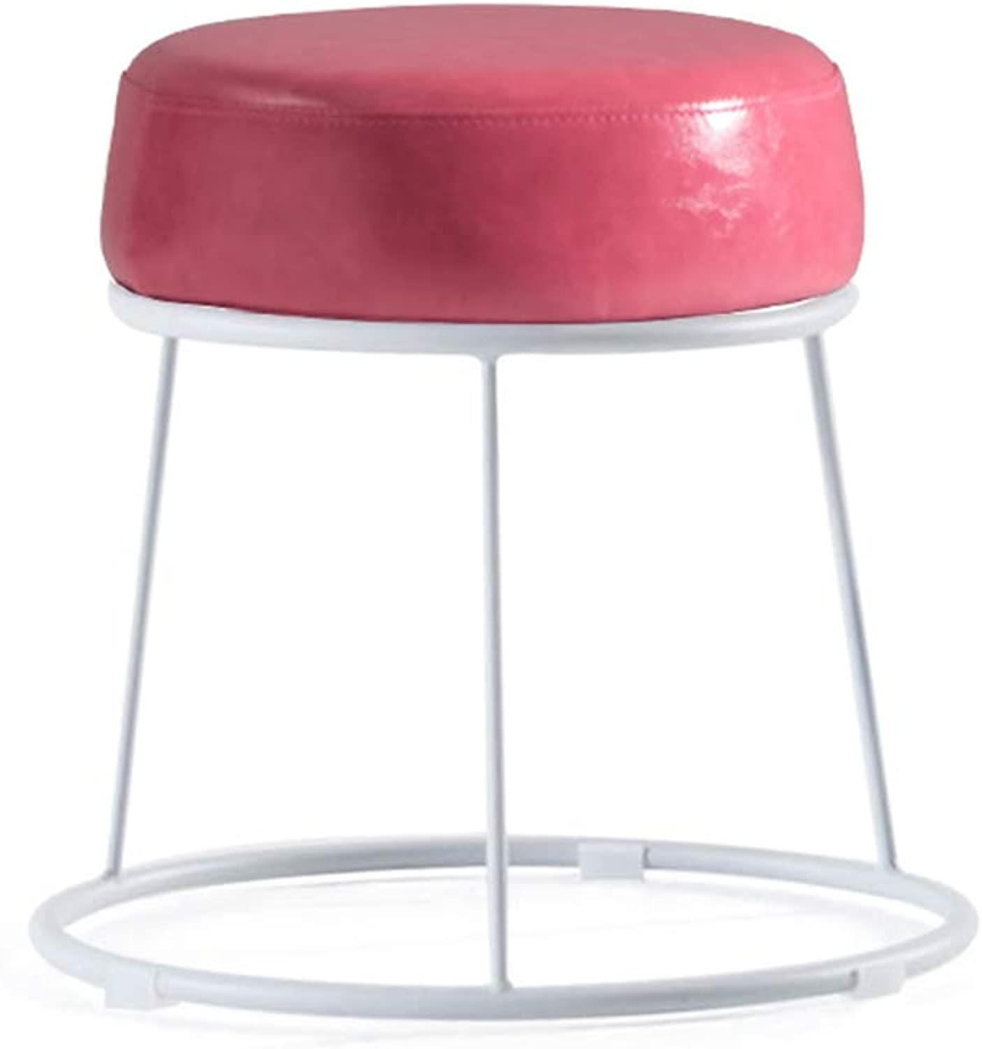Lazy Small Bench, Nordic Iron stool, Low stool, Soft Surface Thick stool, Home stool, Dressing Bench Bench (color   Pink)