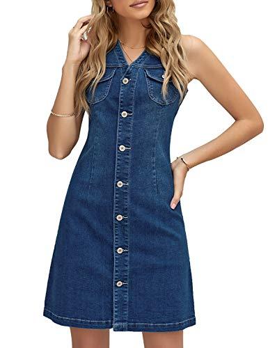 LookbookStore Denim Dress for Women Summer Blue V Neck Sleeveless Button Down Pockets Short Denim Dress Size L