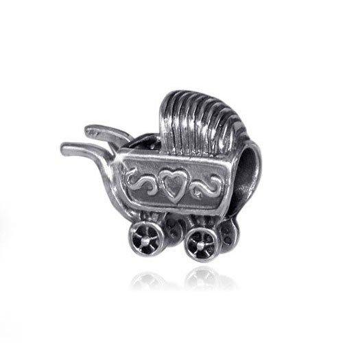 MATERIA Schmuck 925 Silber Bead Kinderwagen mit Herz Motiv - European Beads Baby Familien Element #681