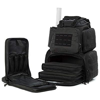 Gun Range Bag Tactical-Backpack for Handguns with 3-Pistol Case Black
