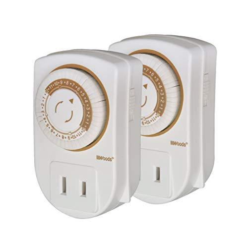 Woods 50006WD Indoor 24-Hour Mechanical Outlet Timer, 30 Minute Intervals,2-Pack,White