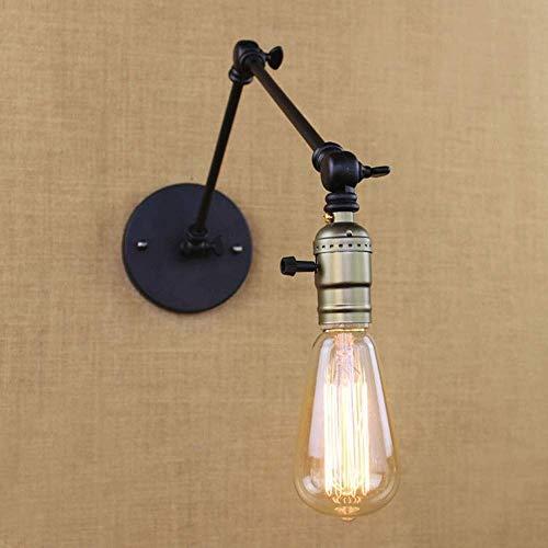 Meixian Wandlamp, industrieel retro, vintage, zwart, verstelbare kop, swingle wandlampen, E27 voor slaapkamer, hal, lamp, strip, eenvoudig retro