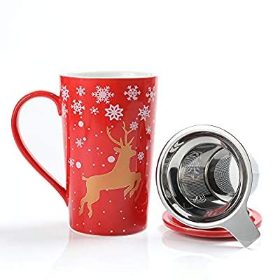 TEANAGOO M58-12 Porcelain Tea-Cup with infuser and Lid, 18 OZ, Red Golden Deer, Best for Christmas & New Year Holiday