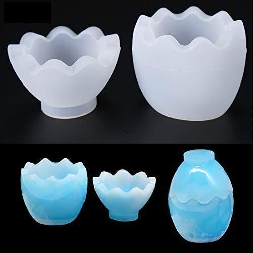 FineInno Stampi per Resina UV Trasparente Silicon Mold Gioielli Epossidica A Forma di Uovo DIY Strumento per Sapone, Orecchini, Anelli (1 Set)