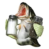 River's Edge Products Salt and Pepper Shakers, Bass Holding, Poly Resin and Glass Matching Set