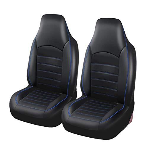PU de cuero delantero asiento de coche cubre antideslizante y transpirable Van impermeable interior automático accesorios para automóviles, SUVS y camiones,Azul
