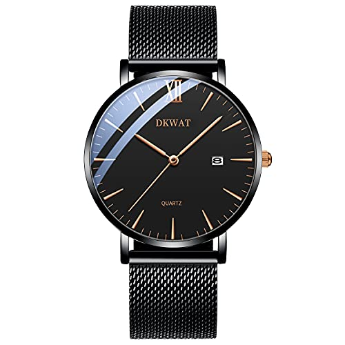 DKWAT Reloj Hombre Mujer Negro Cuarzo 3ATM Impermeable Analogicos Fecha Ultra Fino Moda Minimalista Clásico Negocios Casual Elegante Deportivo Correa de Acero Inoxidable Malla