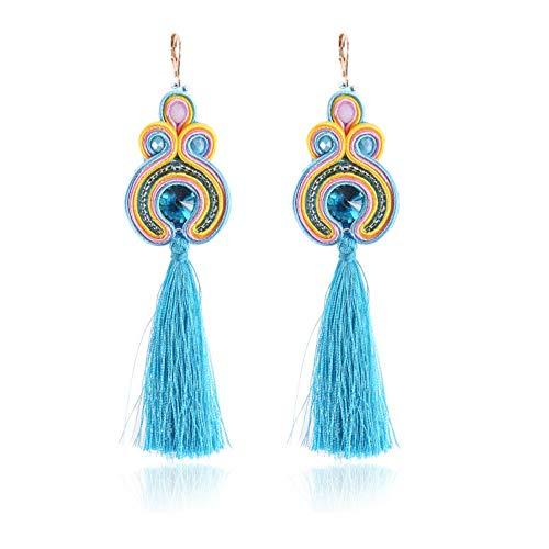 YUJUEE Ohrringe Fashion Soutache Langen Quaste Ohrringe Ethnischen Stil Schmuck Frauen Zubehör Handgefertigte Ohrhänger,02