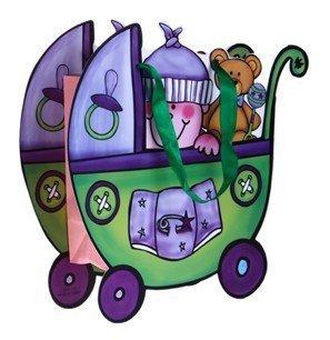 Cadeauzakjes van papier en presentatie voor kinderwagen, groen, 12 stuks