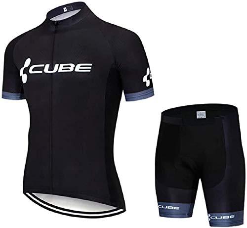 GHDUKEY Conjunto de Equipacion de Ciclismo Hombres, Verano Traje de Ropa de Ciclismo, Secado Rápido Maillot Manga Corta y Culotte Bicicleta para Deportes Aire Libre