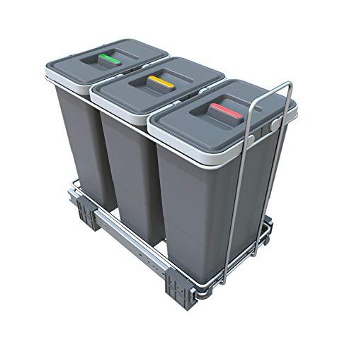 ELLETIPI Ecofil PF01 34A3 - Cubo de Basura de Reciclaje con Base diferenciada, extraíble, de plástico y Metal, Gris, 23 x 45 x 36 cm