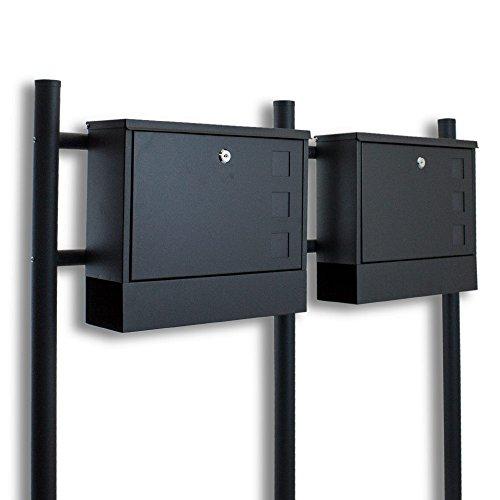 BITUXX® Doppel Standbriefkasten Briefkasten Postkasten Mailbox Briefkastenanlage mit integrierten Zeitungsfach Dunkelgrau Anthrazit