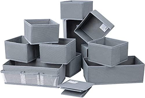 DIMJ Organizador Cajones Cajas Almacenaje Decorativas Organizador Armario Plegable Cajas Organizadoras para Maquillaje Ropa Calcetines,Escritorio (Gris puro)
