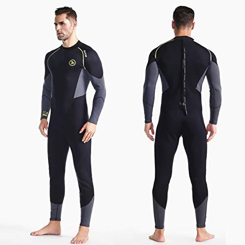 ZCCO Herren Neoprenanzug Ultra Stretch 1,5 mm Neopren Badeanzug, Ganzkörper-Tauchanzug mit Reißverschluss hinten, EIN Stück zum Schnorcheln, Tauchen, Schwimmen (schwarz, S)
