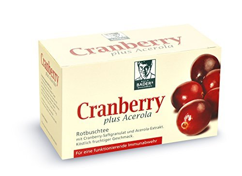 BADERs Cranberry plus Acerola Tee aus der Apotheke. Rotbuschtee mit Cranberry-Saftgranulat. Vegan. 20 Filterbeutel. PZN: 06919307