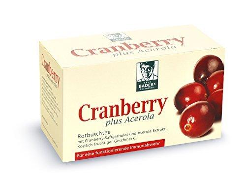 BADERs dalla farmacia. Il mirtillo rosso piu' l'acerola. Tè Rooibos con granuli di succo di mirtillo rosso. 20 sacchi filtro