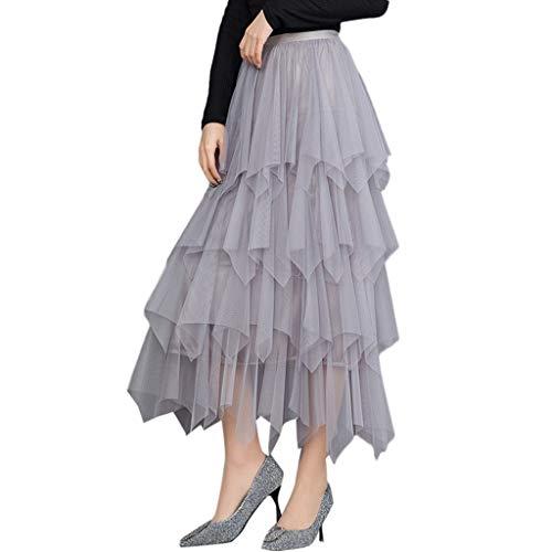 SALUCIA Damen Tüllrock Langer Falten Tüll Tütü Mesh Rock High Waist Elastisch Midi Maxi Röcke Unterrock Petticoat Ballettrock