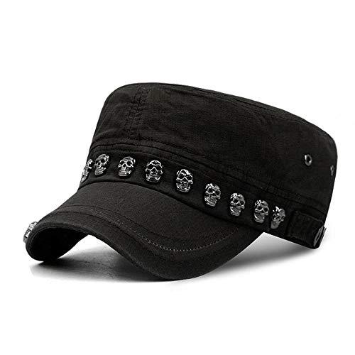 Wacemak1r Fashion Punk Style Baseball Cap mit Totenkopf Nieten Sommer Sonnenhut verstellbar für Outdoor Sonnenschutz