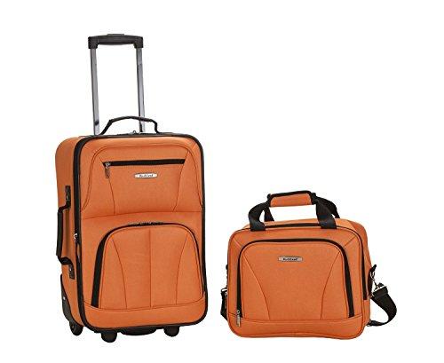 Rockland - Juego de equipaje de 2 piezas expandible Softcase para llevar y bolsa de viaje Juego de equipaje. Carry-On naranja