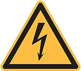 Warning: Electricity Sticker, Vinyl 4 inches Warning Sign, ISO 7010 [W012], Pack of 5