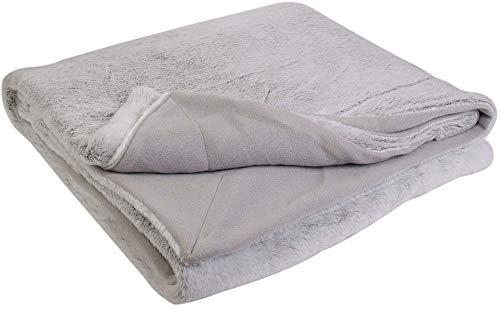 HOME DECO FACTORY TX8115 Manta de imitación de Pelo XXLL, Poliéster, Gris, 200.00 x 140.00 x 1.00 cm
