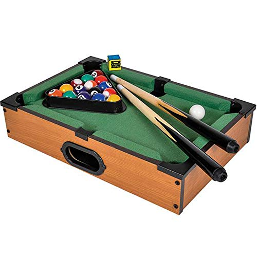 Gamie Tabletop Pool Game Set Wooden Portable Game with All Accessories Included - Great Gift Idea for Boys and Girls - Unique Desk Decoration - Fun for The Whole Family