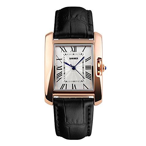 SKMEI 腕時計 レディース アナログ ビジネス 革ベルト レクタンギュラーケース (ブラック)