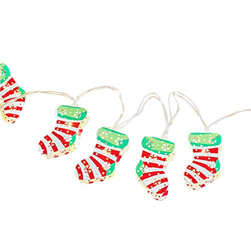 LukLoy Christmas Stocking LED String Lights, Socks Fairy String Lights, Perfect for Christmas Window Garland Wreath Home Decoration (Colorful Stocking, 3m 20LED, USB)