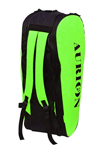 Aurion Badminton,Squash Racket Bag, Single Shoulder Racket Bag 6 Racquet Bag, Waterproof and Dustproof (Black/Green, 40 L)