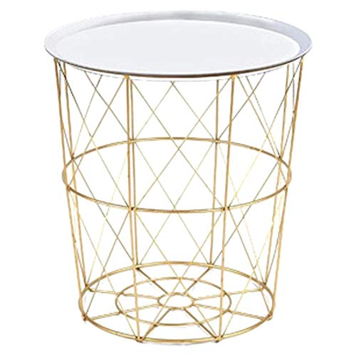 CLJ-LJ 34.5 x 30.5 x 23 cm Mesa de café de Metal de Hierro Cesta de Almacenamiento Sucio Té Fruta Snack Sirva Sirva Tablero Bandeja Golden White Cover Trompet (Color : Gold)