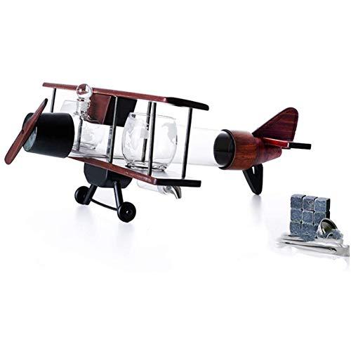 Joy-Beau Forma Aircraft Whiskey Decanter Set,Colore del caffè Struttura in Legno con La Bottiglia Alta Borosilicato Craft Vino Contenitore,Migliori Regali per Il Padre E Marito
