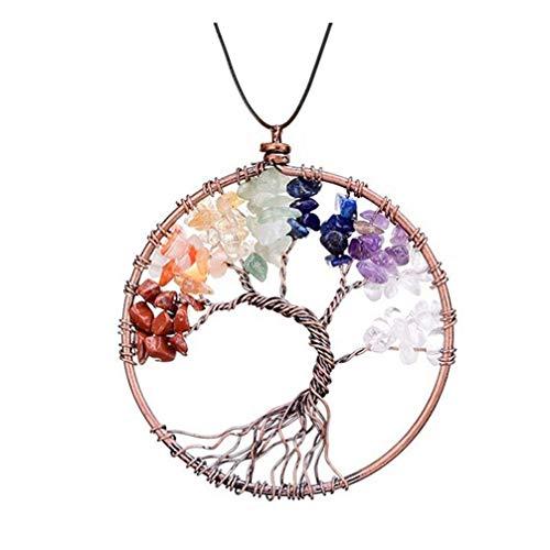 N / A Nigoz - Collar de cadena de piedras preciosas con diseño de árbol de la vida, color adorable y práctico y rentable