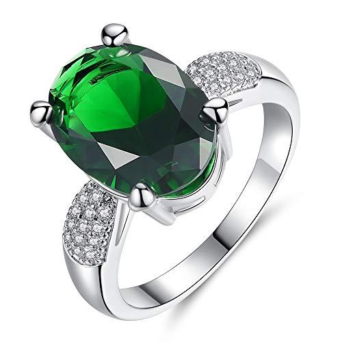 RQZQ Ring Zilver Kleur Trouwringen Vrouwelijke Sieraden met Groene Stenen Accessoires Sieraden Ring voor Vrouwen Gift