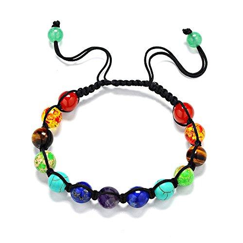 Pionier. Naturstein Amethyst seven-color Rainbow Chakra Armband, mit einer