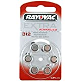 Rayovac Type 312 Hearing Aid Batteries, 6 Pack