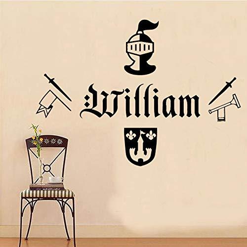 Patrón de arma Soilder Nombre personalizado Etiqueta de la pared para la sala Niños Decoración de la habitación Diseño de la pared Pegatinas Vinilo Azul L 43cm X 30cm