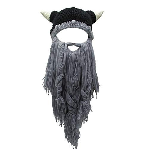 Leiouser - Gorro de punto para disfraz de Halloween, estilo vikingo, con cuerno, mscara de esqu, estilo brbaro, estilo vagabundo, para invierno, para adultos