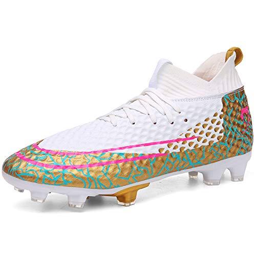 TAZAN Zapatos De Fútbol Niños High Top Spikes Botas De Fútbol Entrenador Zapatillas Profesionales Zapatos Competitivos Unisex Fútbol Zapatos Boys Fútbol Atletismo Zapatos (34-47EU),White2,47
