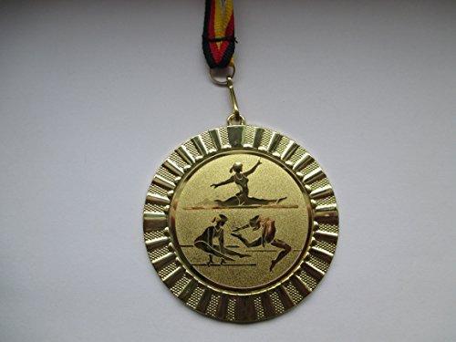 Fanshop Lünen Medaillen - Medaille - Große Metall 70mm - Gold - mit Alu Emblem 50mm - Turnen - Bodenturnen - Gymnastik - Damen - Medaillen-Band - (e107) -