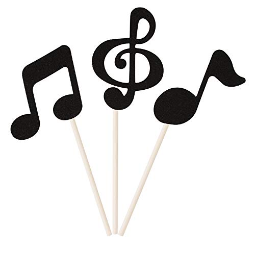 Donoter 48 Pcs Black Glitter Music Notes Cupcake Toppers Musical Symbols Cake Picks for Kids Birthday Party Food Decorations