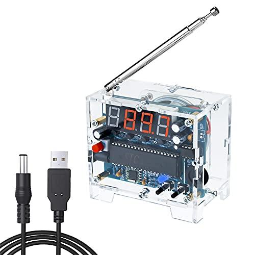 Kit Ricevitore Radio FM Fai-da-te Seamuing Digitale Altoparlante Wireless Regolabile 76MHz-108MHz con Cavo di Alimentazione Facile da Montare per L'apprendimento Della Saldatura e Principiante Adulto