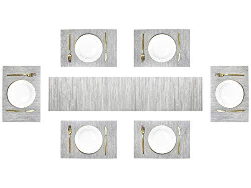 Olrla Napperons en PVC et Ensemble de Chemins de Table, 6Pcs 30x45CM Tapis de Table en Vinyle Durable et 1Pcs Chemin de Table 30X180CM (Gris Clair, 6 +1)