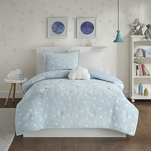 "Mi Zone Kids Quinny Soft Plush Comforter, Cloud, Stars Fun Design Modern All Season Glow in The Dark Bedding Set with Matching Sham, Decorative Pillow, Twin(66""x86""), Aqua"