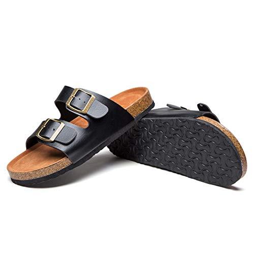 Zapatos de Playa Y Piscina Mujer, Sandalia para Mujer con Plantilla De Corcho con + Comodidad, Sandalias Planas con Soporte para El Arco, 2 Correas, Hebilla Ajustable,Negro,39