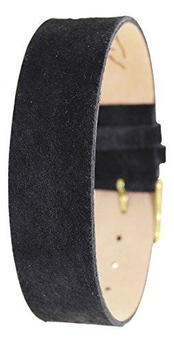 Moog Paris Bracciale da Donna in Pelle di Pecari Opaca di Colore Nero, Cinturino 18mm - PE-09G