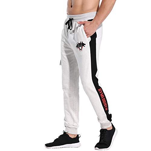 CakCton Pantalon de jogging en coton pour homme Coupe slim - Gris - Large