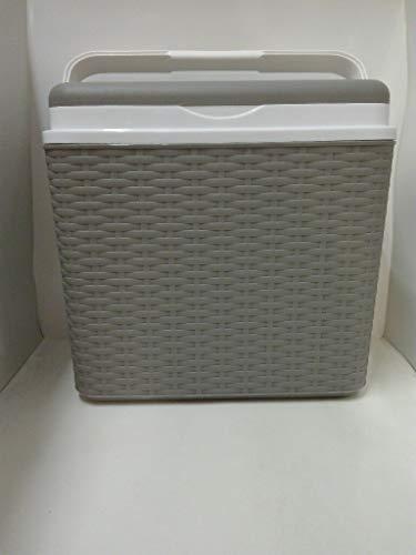 Adriatic Kühlbox Rattan Optik 24 Liter Farbe Taubengrau inkl. 2x Kühlakkus a 400 ml