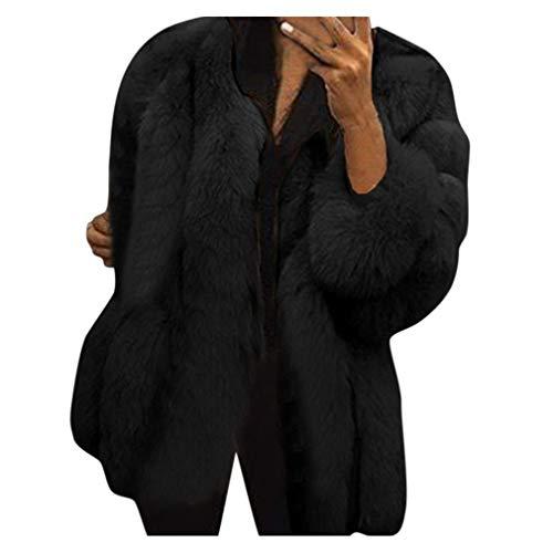 Rosennie Warme Damen Mäntel Winter Kunstpelz Plüsch-Mantel Damen Elagant Pelzjacke Kunstpelz Outwear Langarm Frauen Winterjacke Wintermantel Plus Größen Faux Coat