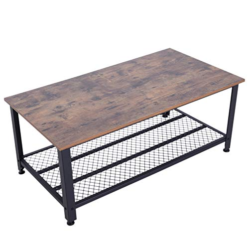 HOMCOM Industrial Style Coffee Cocktail Table Modern with Storage Shelf for Living Room Wood Grain Look